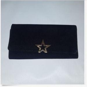 Women's Black Velvet Gold Star Snap Clutch Bag